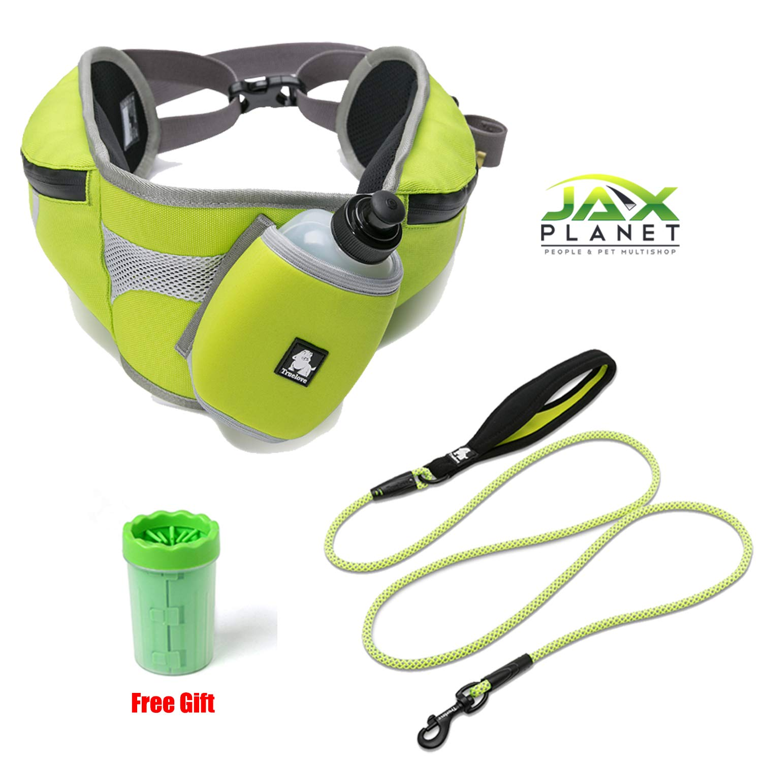 Free Small Hipbelt Dog Leash Accessory Set[TLF1G5] FreeGift+Stylish Sturdy Safe 3M Reflective, Hands Free Trekking Hip Belt & Pet Leash for Small Medium Large Dogs (Hip Belt+Leash1-NeonYellow+Gift, Free Small)