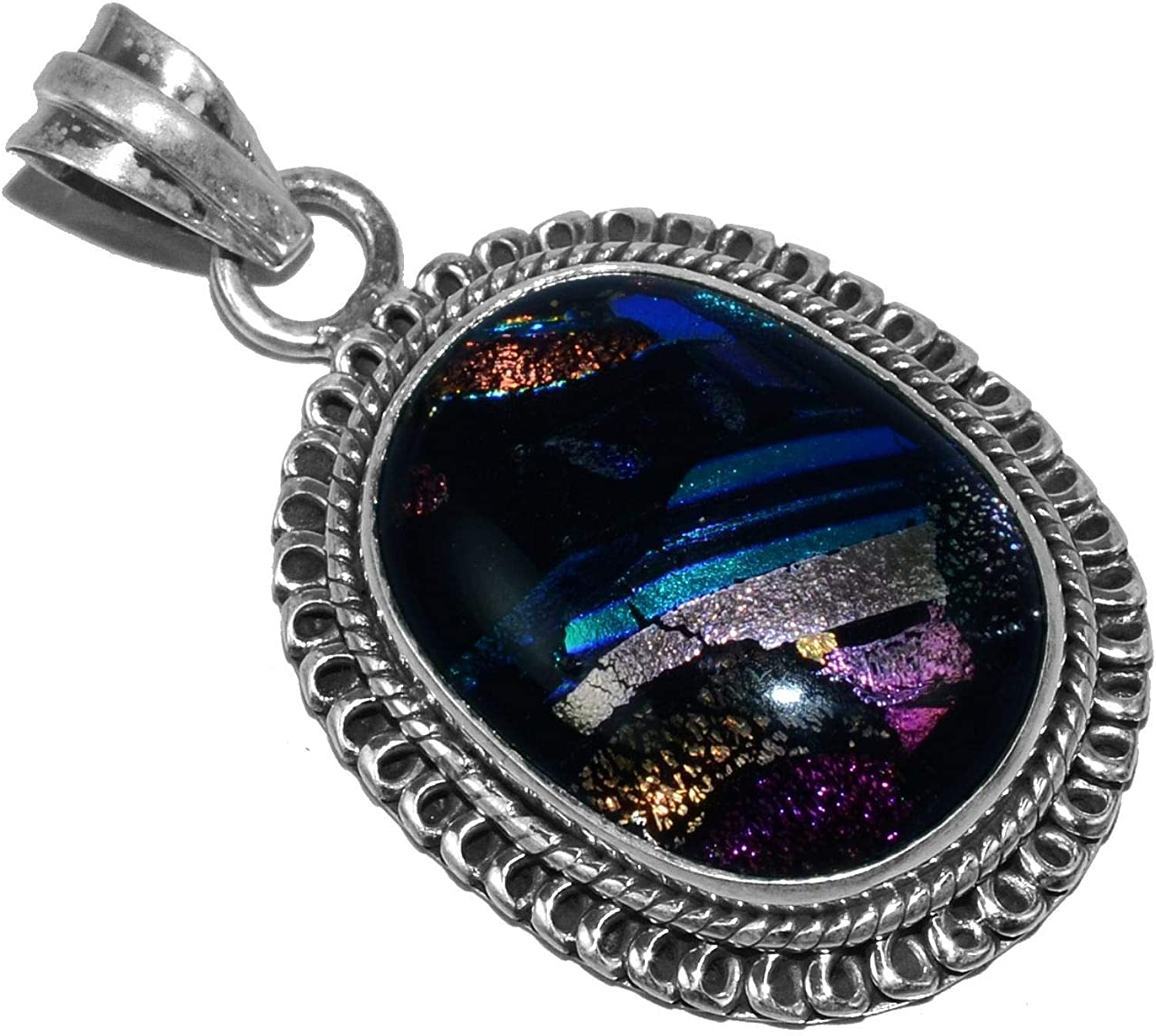 Silver Palace 925 Sterling Silver Natural Fancy Dichroic Glass Pendants for Women and Girls
