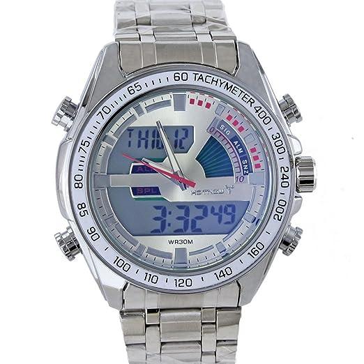 Hotnew - Lujoso reloj para hombre luminoso e impermeable, doble uso horario, digital,