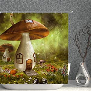 Fantasy Forest Shower Curtain Fairy House Mushroom Cottage Green Trees Meadow Colorful Flowers Decor Fabric Bathroom Curtains,70x70 Inch Waterproof Polyester with Hooks