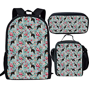 3a9aae7e46ae Showudesigns Children Bookbag Set Kids Backpack for School Small Lunch Bag  Pencil Case Boston Terrier Flower
