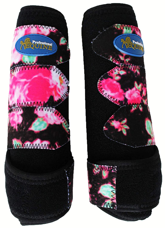 (Middle -1Pair Splint, Black Pink Flower) Equipe Medium Professiona Medicine Equine Sports Boots 4142 -57