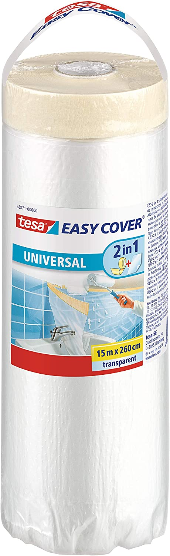 tesa 58871 Cubierta Protectora Easy Cover Universal, de plástico Trasparente y Gran Calidad labores de Pintura, transparente