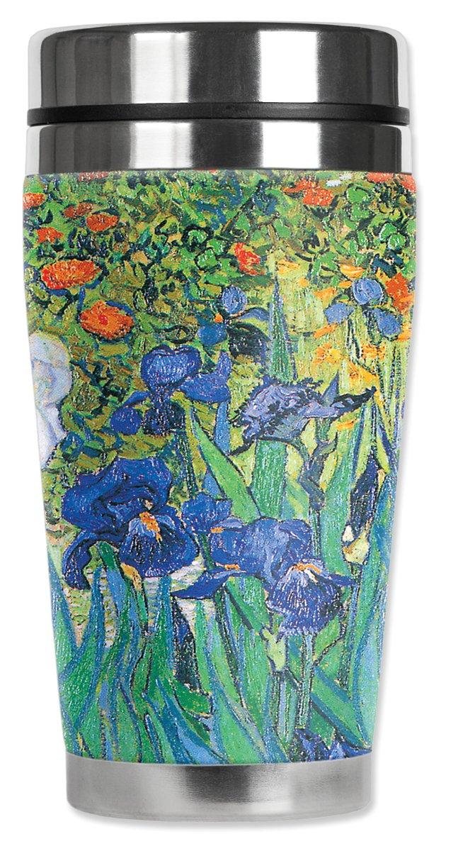 16 oz Mugzie Van Gogh Irises Travel Mug with Insulated Wetsuit Cover Black 13-ZIE