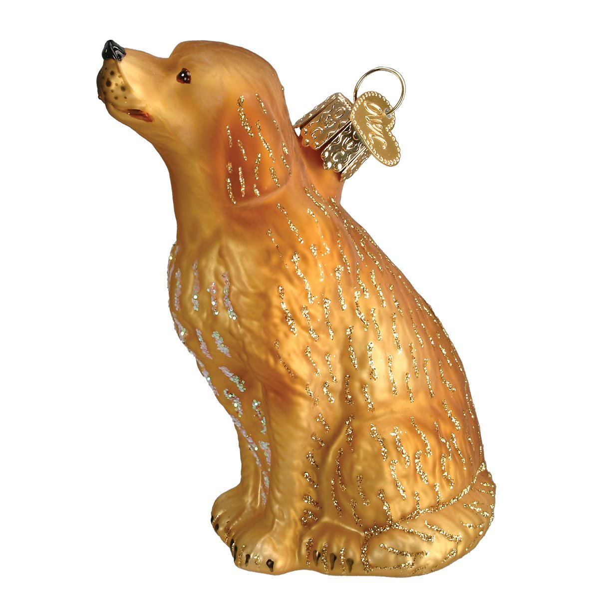 Old World Christmas Glass Blown Ornament with S-Hook and Gift Box, Dog Collection (Sitting Golden Retriever)