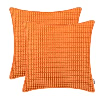 BRAWARM Cozy Throw Pillow Covers Cases for Couch Sofa Bed Solid Corduroy Corn Striped Supersoft Cushion Covers with Piping Both Sides for Home Decor 18 X 18 Inches Sun Orange Pack of 2