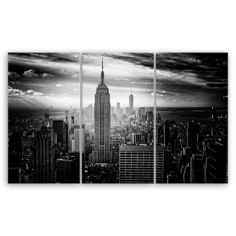 Ge Bildet® hochwertiges Leinwandbild XXL - Empire State Building in New York - Schwarz Weiß - 165 x 100 cm mehrteilig (3 teilig) 2283 D