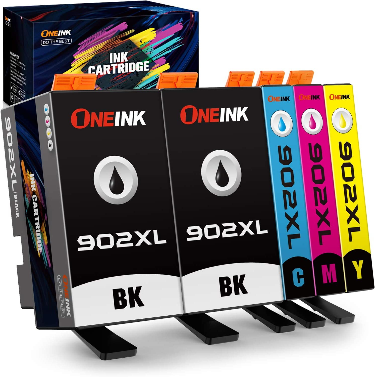 ONEINK Compatible Ink Cartridge Replacement for HP 902XL 902 902 XL Ink Cartridge to Work with HP OfficeJet Pro 6968 6970 6971 6974 6975 6978 6979 6960 6961 Printers,5 Pack(Black,Cyan,Magenta,Yellow)