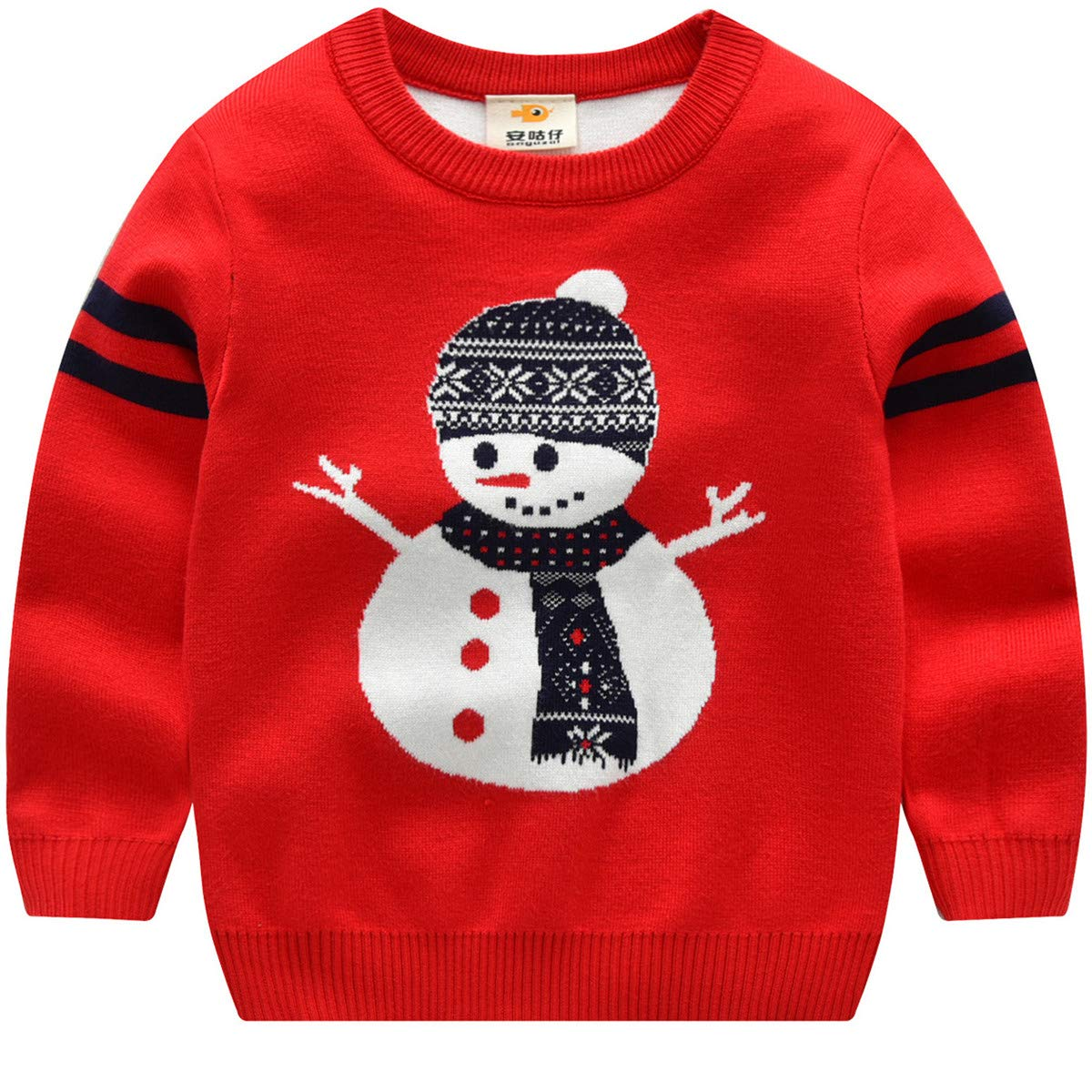 JELEUON Baby Boys Girls Toddler Long Sleeve Christmas Deer Snowman Pullover Sweater Sweatshirt