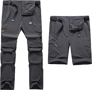 Clouspo Pantalones De Senderismo Desmontables Para Hombre Con Cremallera Y Secado Rapido Gris M Amazon Es Ropa Y Accesorios