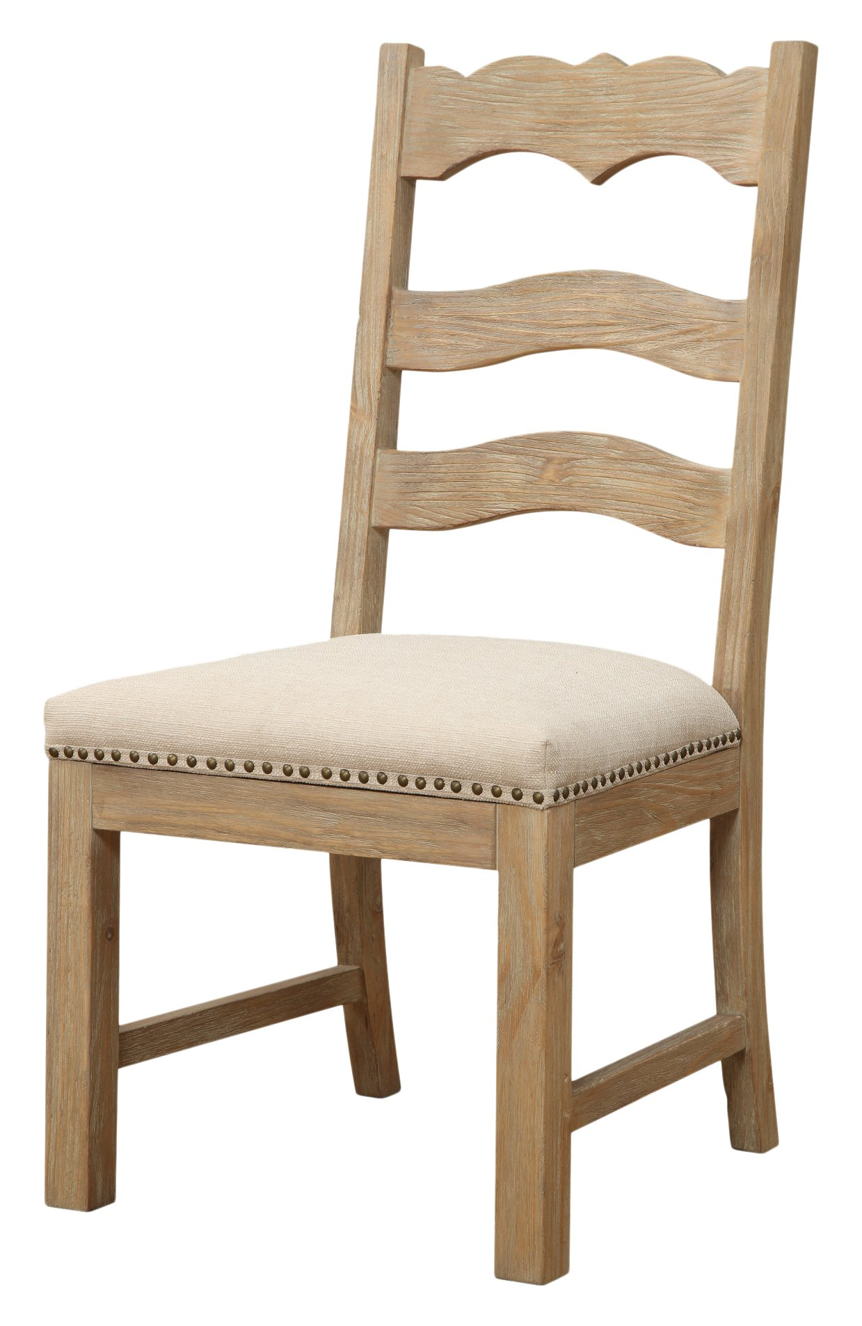 Emerald Home Barcelona Rustic Pine and Beige Dining Chair with Upholstered Seat, Ladder Back, And Nailhead Trim, Set of Two