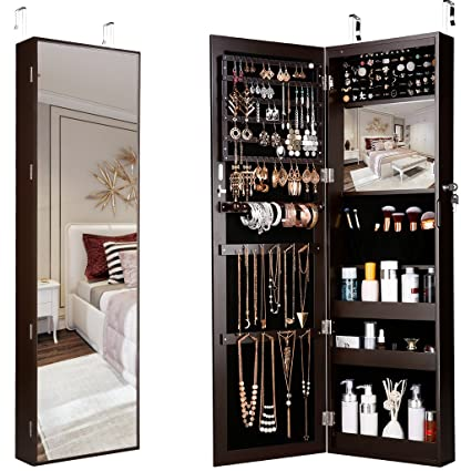 Ordinaire Amazon.com: LANGRIA 10 LEDs Wall Door Mounted Jewelry Armoire Full Length  Mirror Cabinet Organizer With Spacious Storage, Mirror Size 13.5 In W X 46  In H, ...