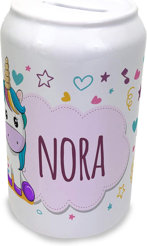 LolaPix Hucha Infantil Unicornio Personalizada con Nombre. Regalos Infantiles. Varios Diseños Infantiles. Cerámica Tapón Inferior. Unicornio Rosa