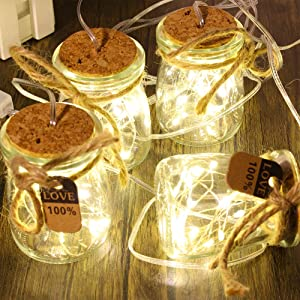 FineUsea Set of 5 Mason Jars Sconce with 8 Lighting Modes Remote Control for Home Decor Wall Hanging LED Light The Gift for Christmas Valentine's Day Decorative Jar
