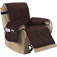 Recliner Sofa Slipcover Slip Resistant Quilted Velvet Plush Recliner Cover Furniture Protector Seat Width Up to 28″ Couch Shield 2″ Elastic Straps (Recliner, Brown)