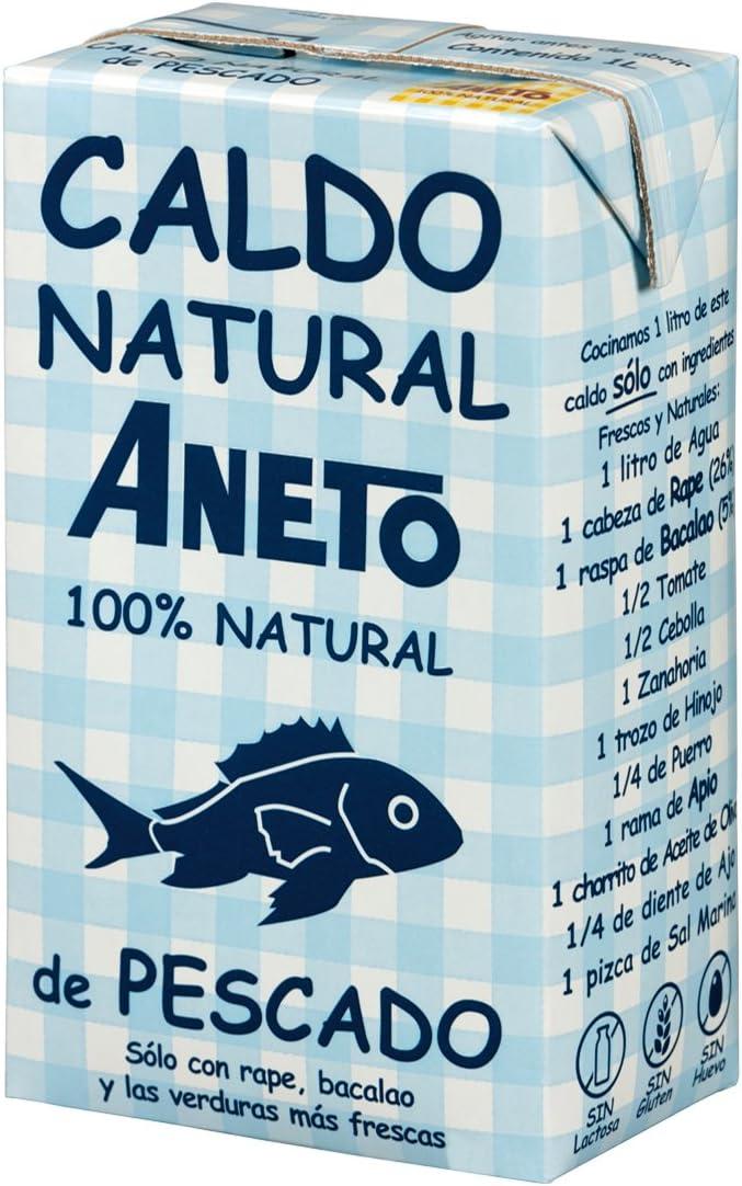 Aneto 100% Natural - Caldo de Pescado - caja de 6 unidades de 1 litro