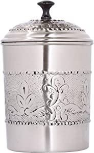 NuSteel Embossed 4 QT Stainless Steel, Beautiful Food Storage Container for Kitchen Counter, Tea, Sugar, Coffee, Caddy, Flour Canister with Rubber Seal lid, Pewter Antique