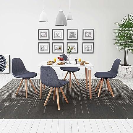 Tidyard - Juego de Mesa y Silla de Comedor (7 Piezas, 1 Mesa + 6 sillas de Comedor), diseño Moderno, Color Blanco y Azul: Amazon.es: Hogar