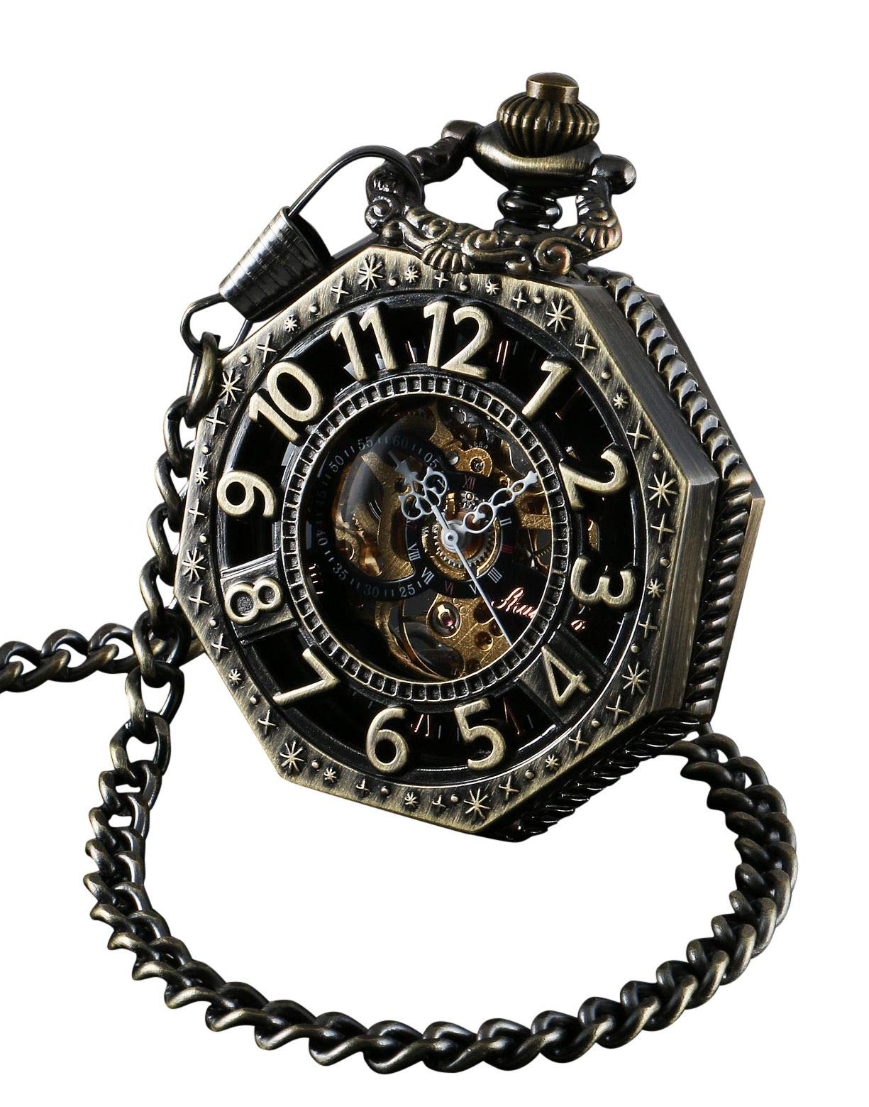 ShoppeWatch Skeleton Pocket Watch with Chain Bronze Octagon Case Steampunk Costume Railroad Style Mechanical Movement… 3