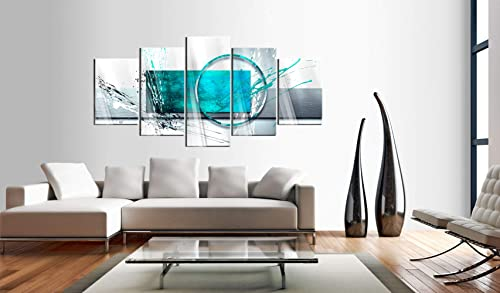 Extra Large Turquoise Expression Framed Abstract Painting Canvas Print Wall Art Stretched Artwork