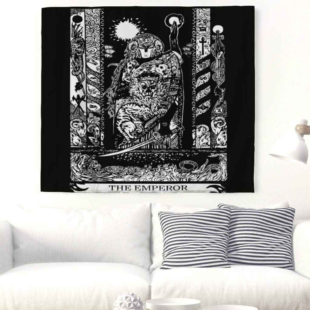 The Emperor Tarot Print Wall Tapestry Monochrome True Sage Tapestry Traditional Altar Tarot Wall Hanging Japanese Folklore Wall Blanket Boho Hippie Beach Throw Tablecloth Curtain white 59x51inch