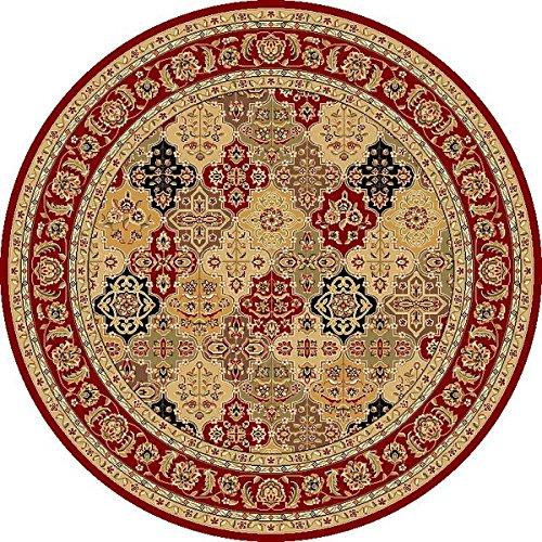 Red Kashan Panel - KAS Oriental Rugs Cambridge Collection Kashan Panel Round Area Rug, 7' x 7