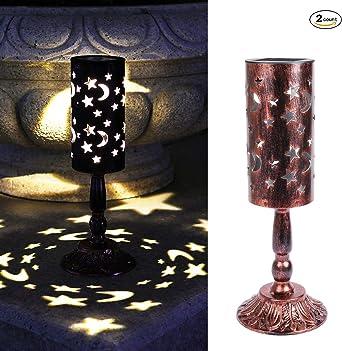 2 piezas de luces solares retro candelabro Lámpara de mesa solar ...