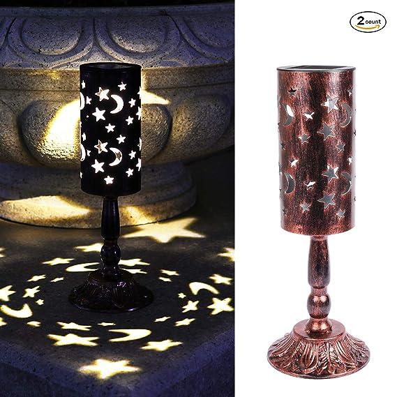 2 piezas de luces solares retro candelabro Lámpara de mesa solar para interiores, exterior Lámpara de mesa antigua casera (Bronce)