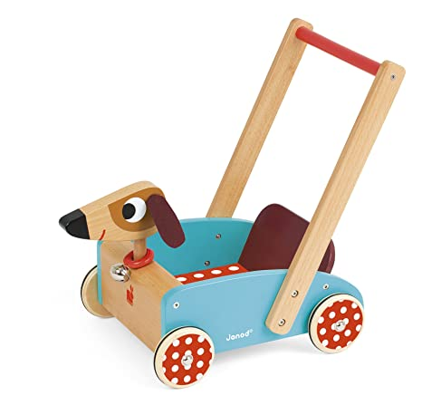 Janod Andador Carrito de Madera, Crazy Doggy (J05995)