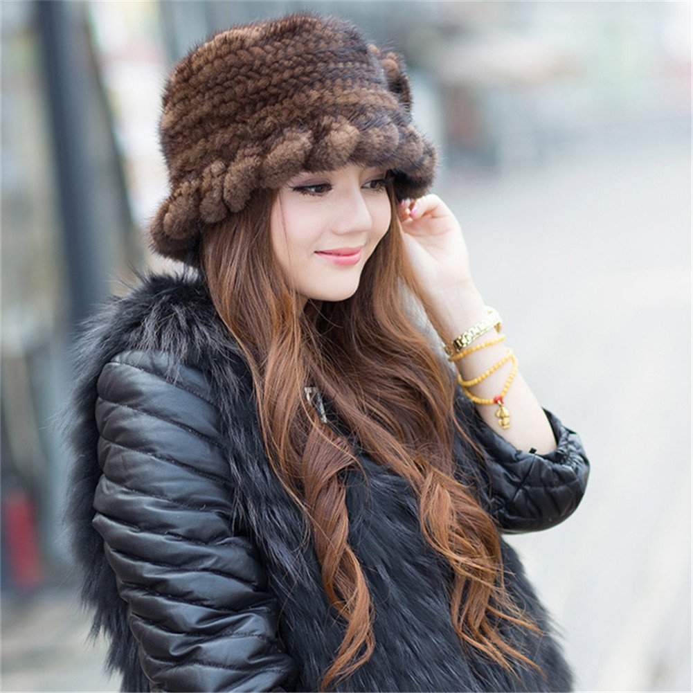 SPRINGWIND Real Mink Fur Hat Knitted Womens Winter Cap by SPRINGWIND (Image #2)