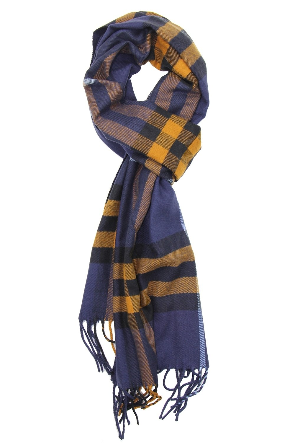 Achillea Classic Cashmere Feel Tartan Plaid Checked Winter Warm Scarf Unisex (Navy Yellow Plaid)