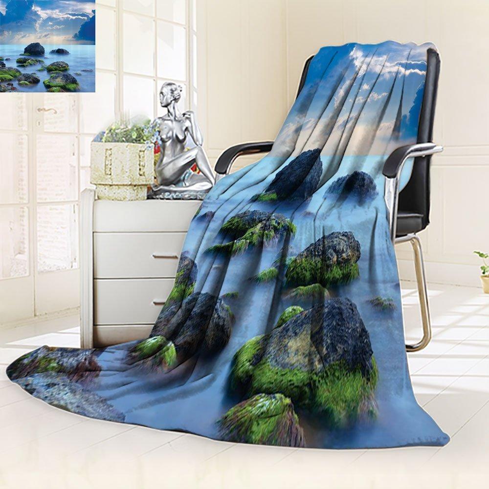 Sky Blue Blanket Spa Custom by Nalohomeqq Sea Stones and Mystic Seaside Caribbean Photo Print Microfiber Fabric Blanket Hypoallergenic Printed Fleece Blanket Slate Grey Sky Blue Cyan White