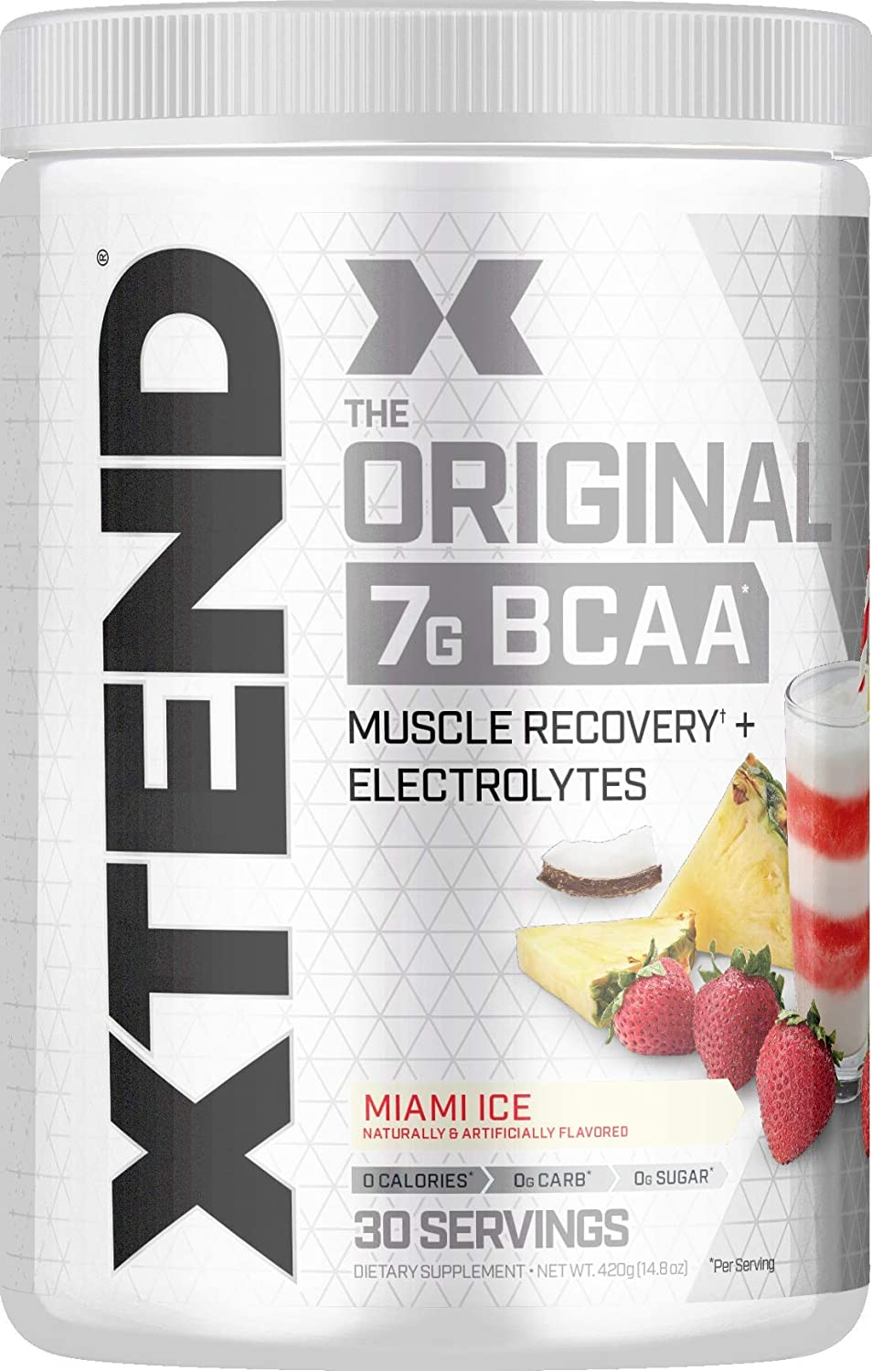 Scivation XTEND Original BCAA Powder Miami Ice | Sugar Free Post Workout Muscle Recovery Drink with Amino Acids | 7g BCAAs for Men & Women | 30 Servings