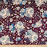 Art Gallery Fabrics Soulful Jersey Knit Floral Universe Fabric by the Yard, Plum