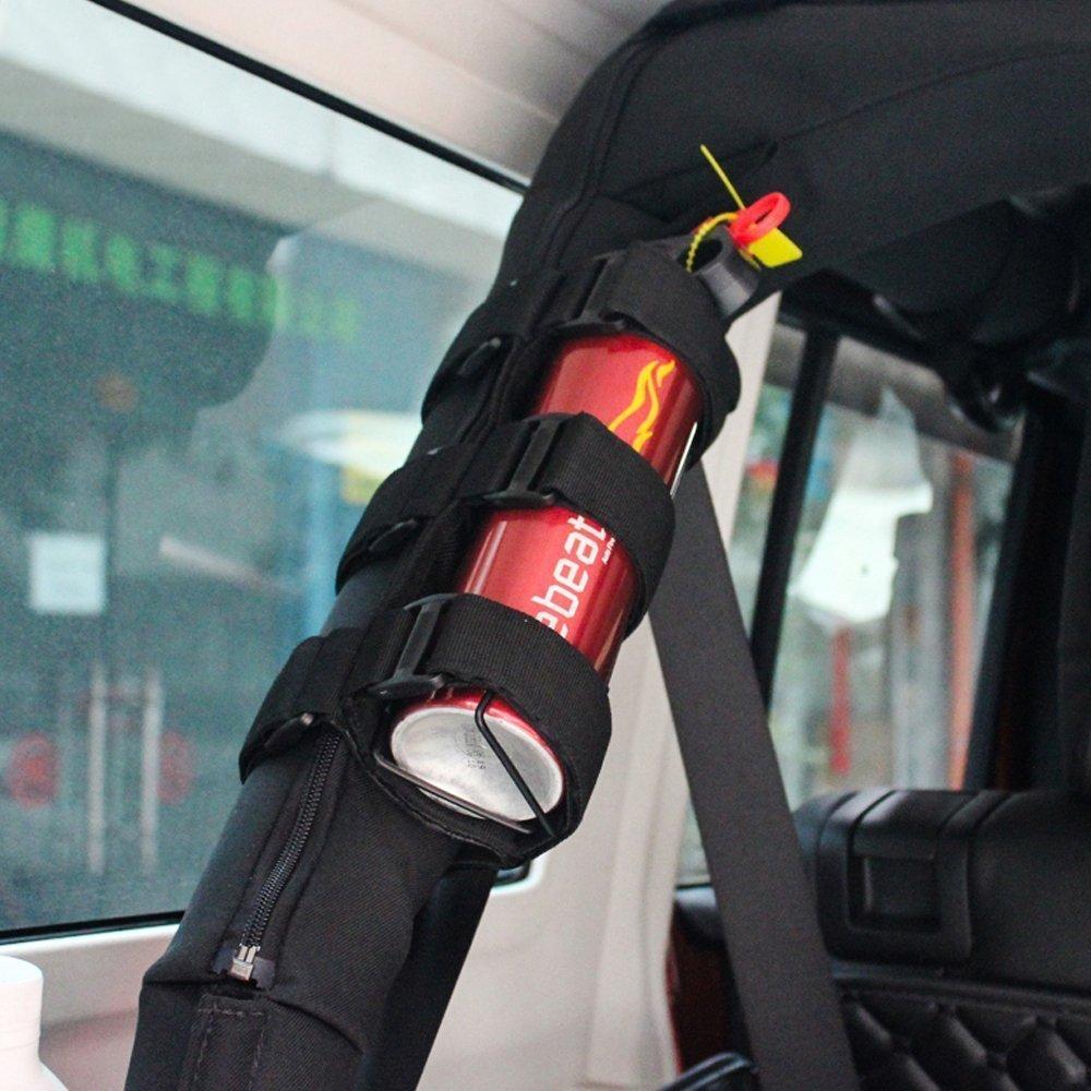 autoparts188 Negro Roll Bar extintor Incendios Soporte Ajustable extintor Titular de Almacenamiento de Correas Compatible con TJ YJ JK CJ Jeep Wrangler