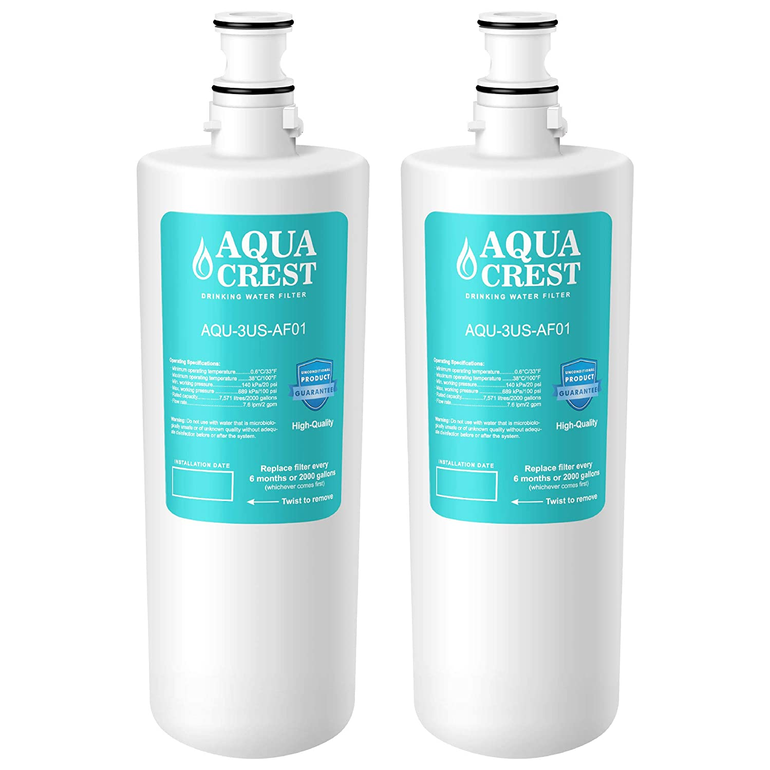 AQUACREST 3US-AF01 Under Sink Water Filter, Compatible with Standard Filtrete 3US-AF01, 3US-AS01 Water Filter (Pack of 2)