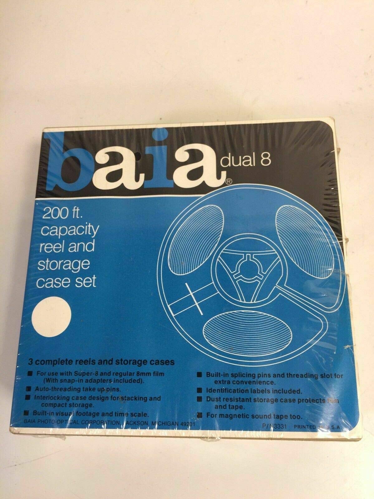 Baia Dual 8 200 Ft Reel with Storage Case Set of Three 3 Pack Sealed in Package by PHOENIX FINDS TREASURES