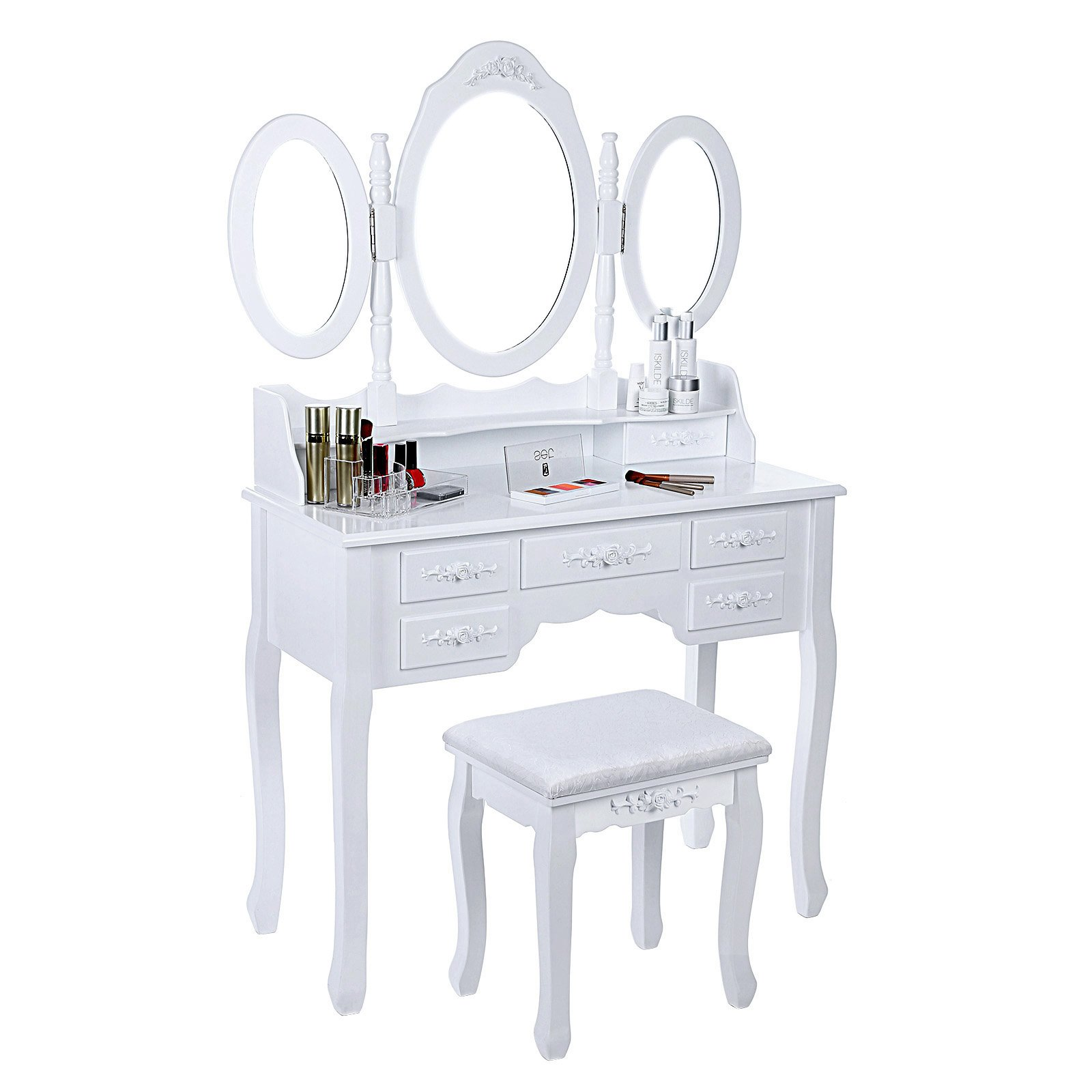 SONGMICS Vanity Set Tri-folding Mirror Make-up Dressing Table Padded Stool with 7 Drawers 2 Dividers White URDT91M