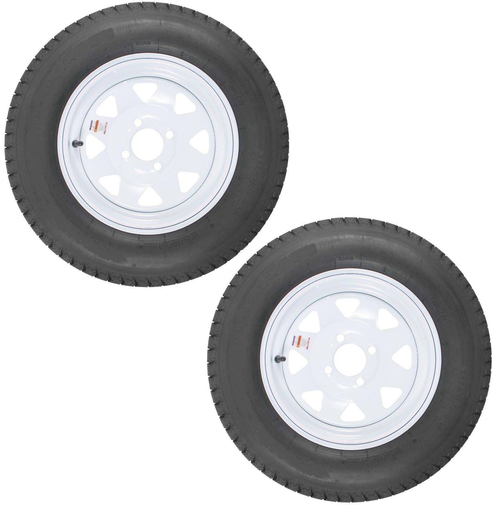 2-Pk eCustomrim Trailer Tire Rim ST175/80D13 13'' Load C 4 Lug White Spoke 39356