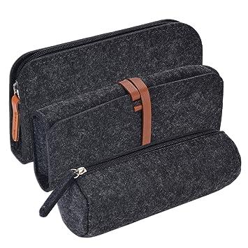 Estuche Escolar, Coofit 3PCS Bolsa para Lápices Bolsa Fieltro Pen Bag Pencil Case Paquetes