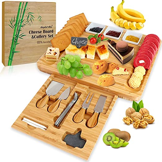 Bamboo Cheese Board with Cutlery Set Brie and Meat Cheese Cutting Platter Serving Tray Charcuterie Platter Modern Fancy Design Crackers Serve Wine Unique housewarming Gift