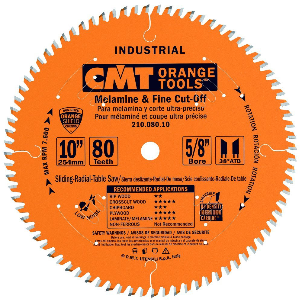 CMT 210.080.10 Industrial Fine Cut-Off Saw Blade, 10-Inch x 80 Teeth 38° ATB Grind with 5/8-Inch Bore, PTFE Coating by CMT