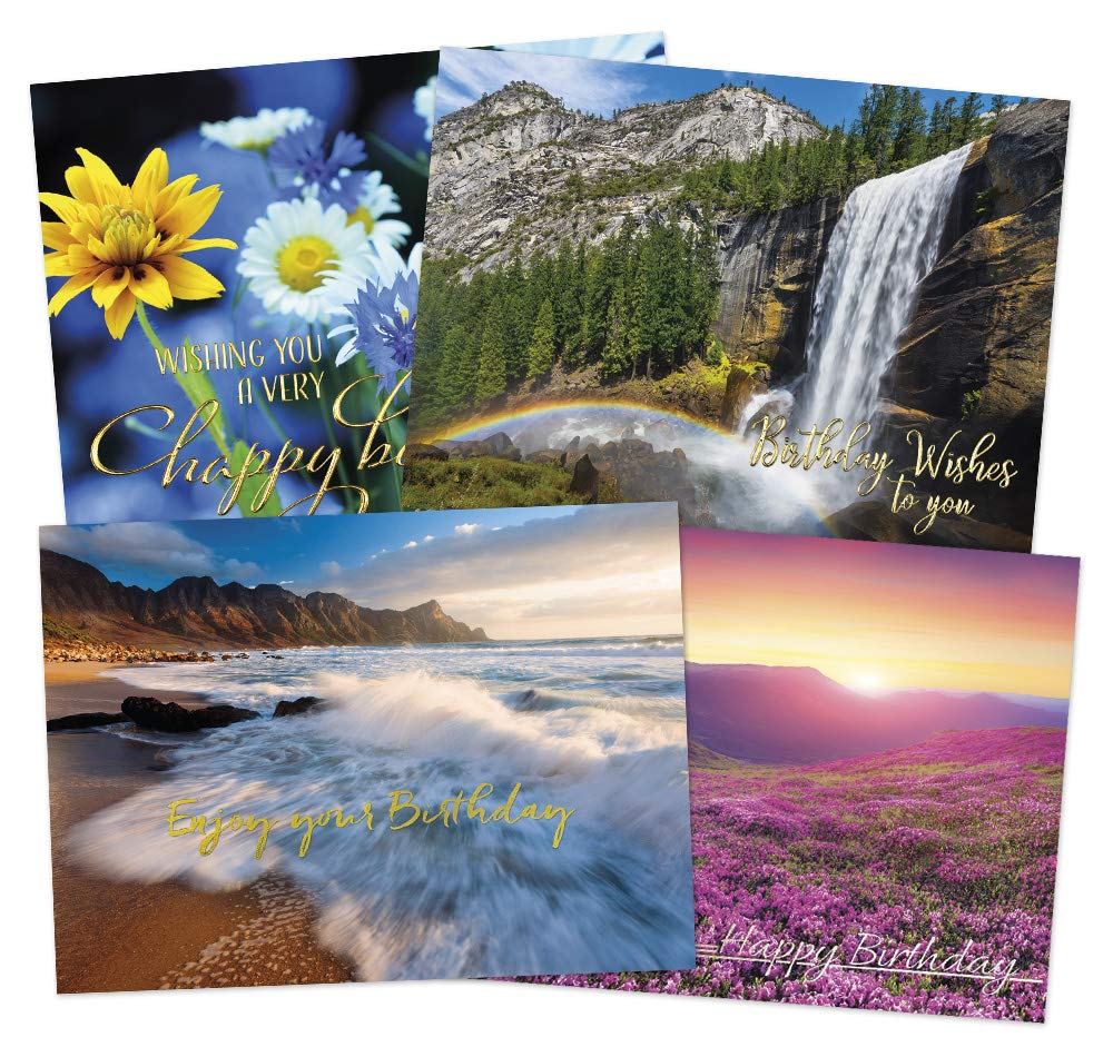 50 Scenic Birthday Cards - 4 Beautiful Designs - 52 White Envelopes - FSC Mix by Posty Cards