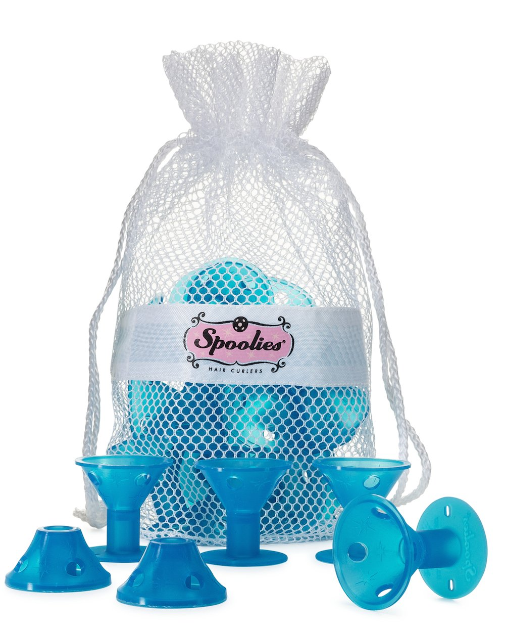 Spoolies Hair Curlers - Jumbo Size, 15 Count with Mesh Bag Gift! Inc. SP3B-1-BB