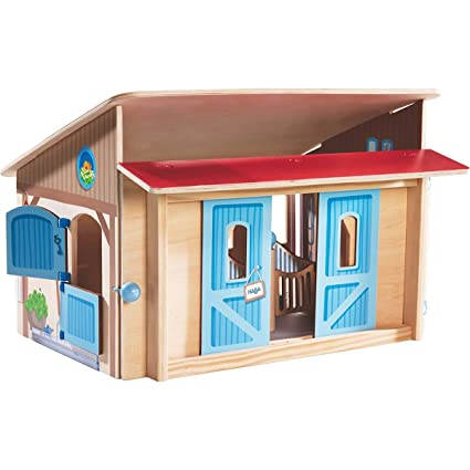 Haba Little Friends Wooden Horse Stable Riding School with Loving Illustrations & Sliding Doors