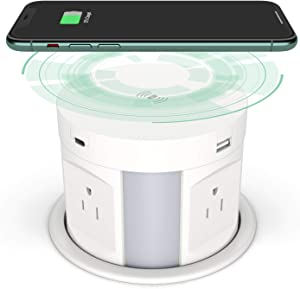 Kungfuking Automatic Pop up Outlet, Wireless Charger Power Strip Surge Protector Recessed Outlet, 4 AC Plug + Type-A and Type-C USB Port Outlets for Countertop Kitchen Island Conference Workbench