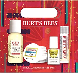 product image for Burt's Bees Naturally Nurtured Face Care Holiday Gift Set, 4 travel sized Products Mini Day Lotion, Mini Cleansing Oil, Mini facial Oil, Ultra Conditioning Lip Balm
