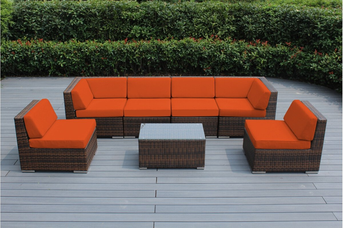Ohana 7 Piece Outdoor Patio Furniture Sectional Conversation Set Mixed Brown Wicker With Orange Cushions No Assembly With Free Patio Cover