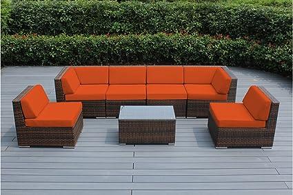 Amazon.com: Juego de sofás seccional de mimbre para ...