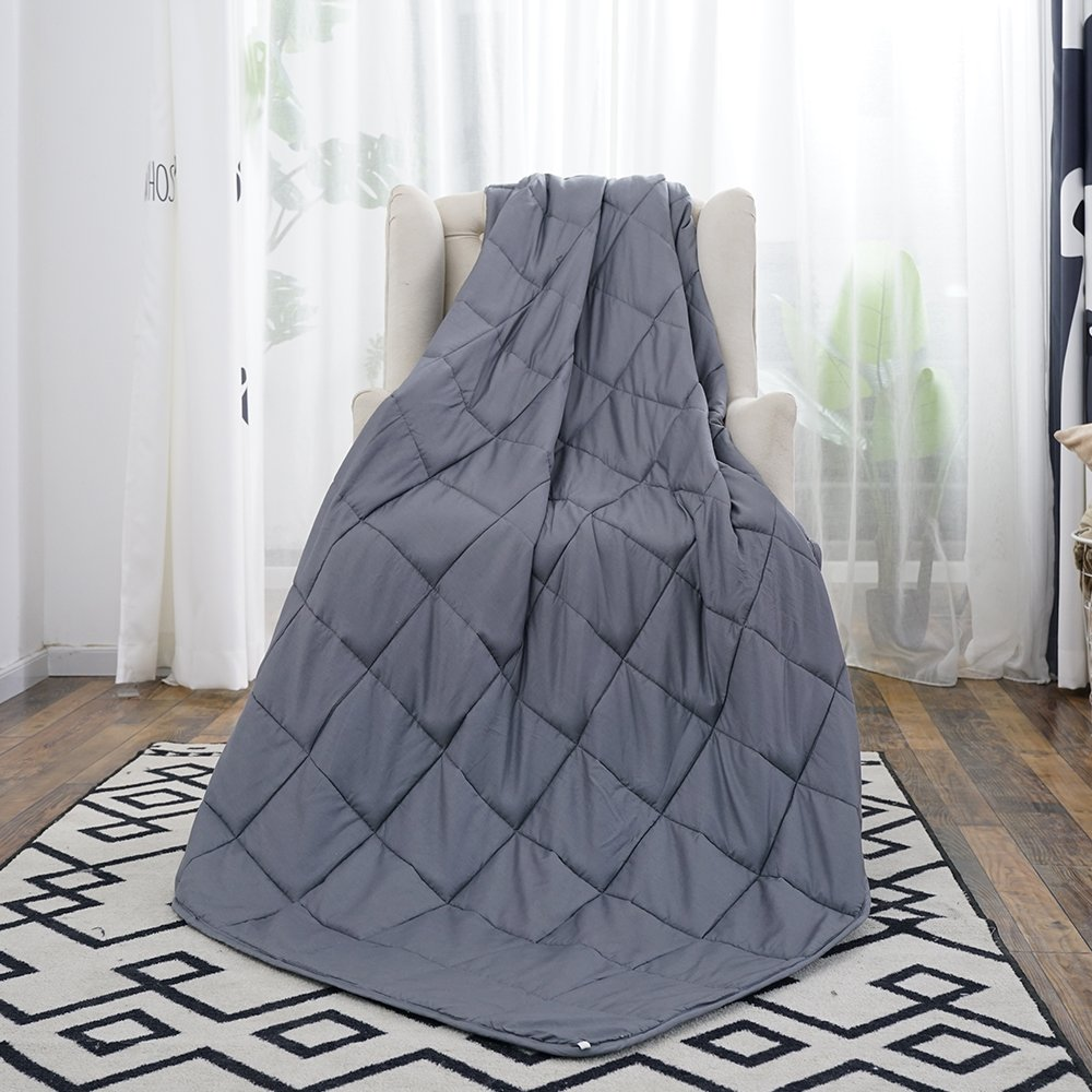 Weighted Blanket for Adults with Anxiety by Anjee Therapy, 15 lbs Autism Weighted Blanket for 100 - 150 lbs Persons, for Better Sleep and Stress Relief, Easter Day Gift (60 x 80 Inches, Grey)